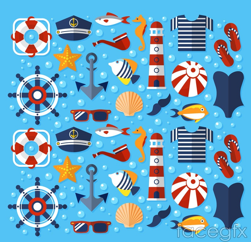 Fine summer elements seamless vector background illustration