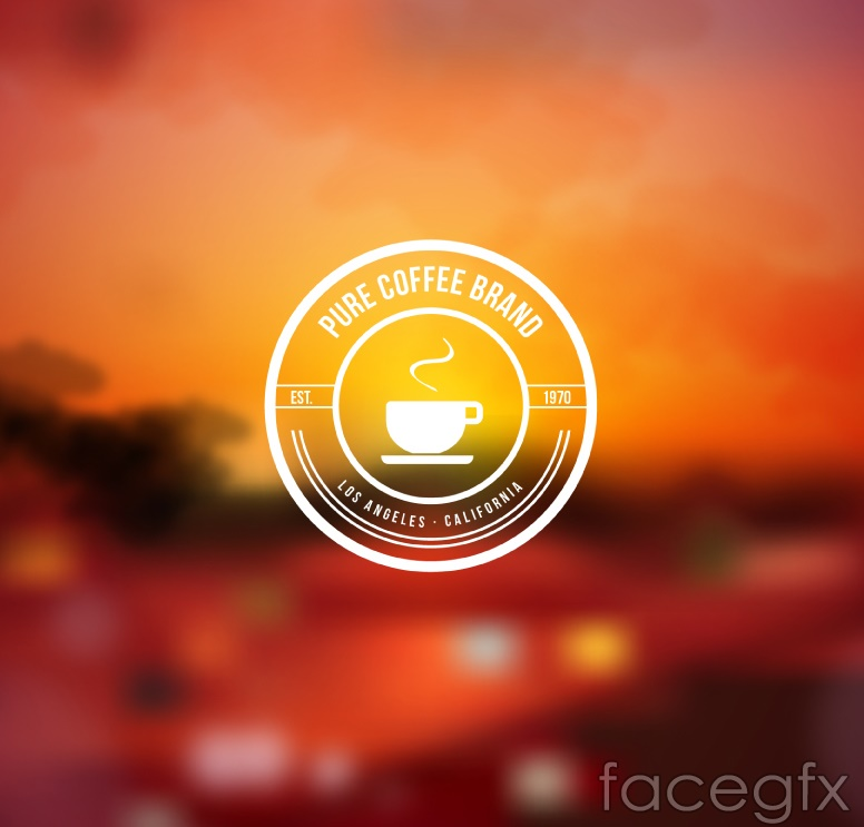 Fuzzy posters sunset coffee labels vector