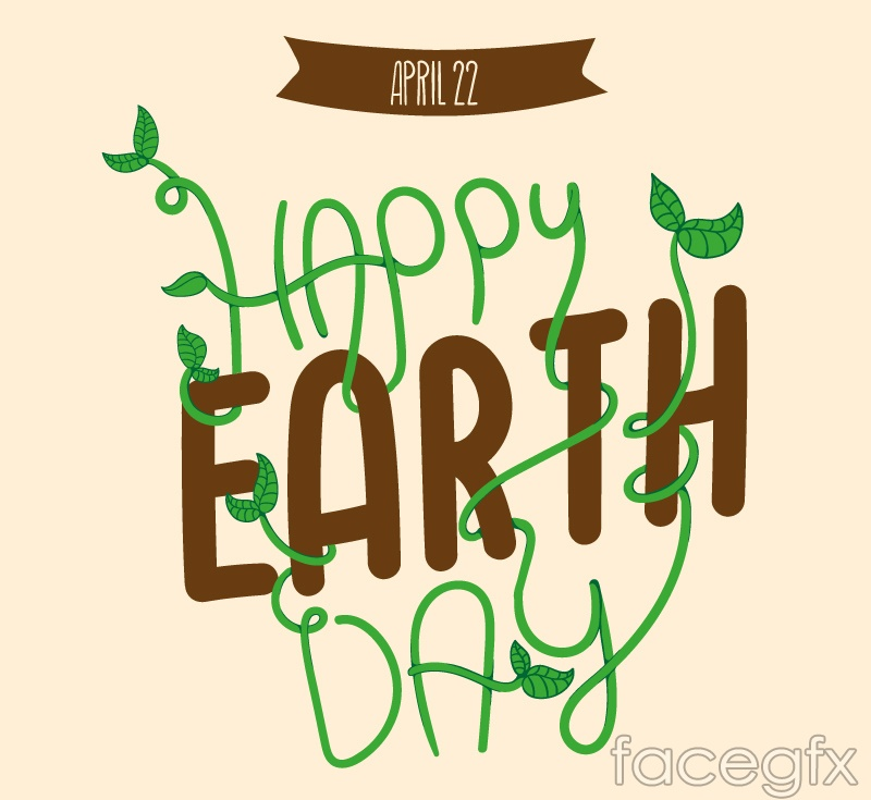 Happy Earth Day word art vector graphics