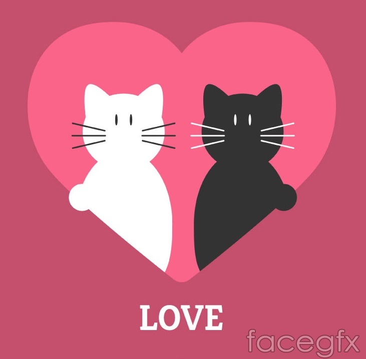 Love heart black and white cat vector