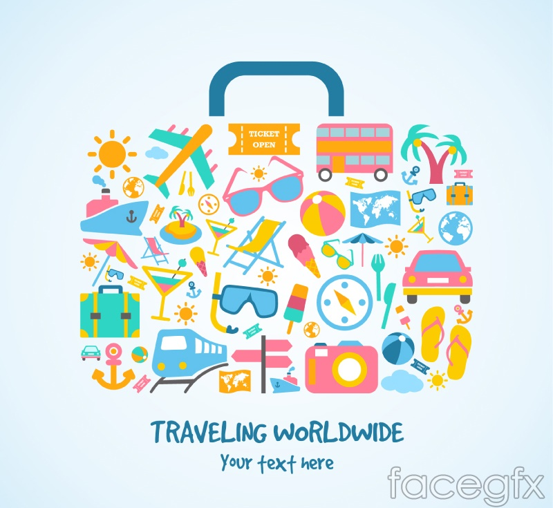 Summer vacation travel box from the elements vector