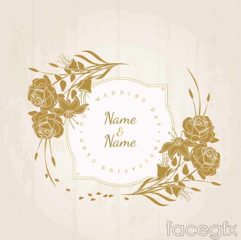 Vintage floral wedding invitation card vector