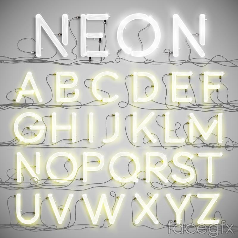 White neon letters design vector