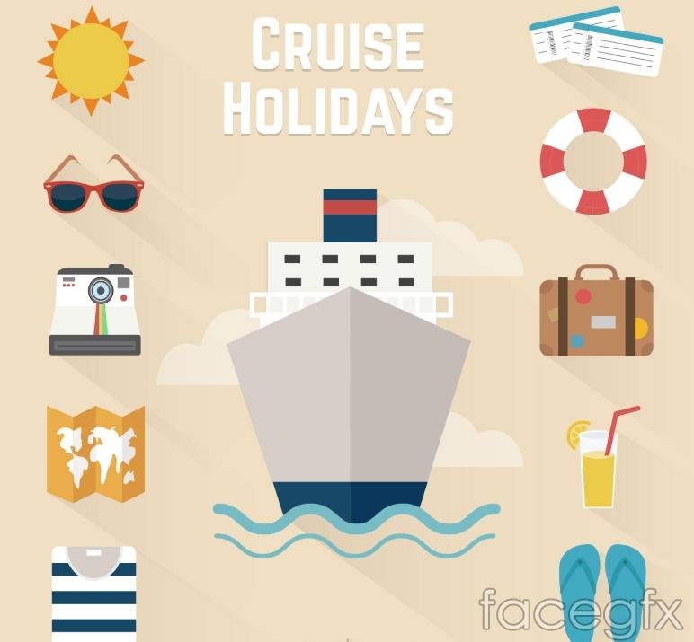 11 holiday cruise tour icon vector