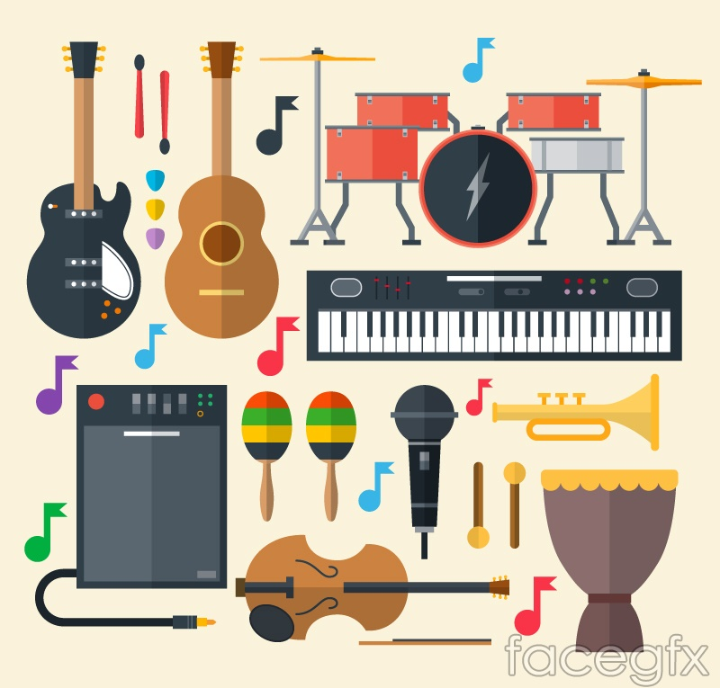 13 beautiful musical instrument design vector