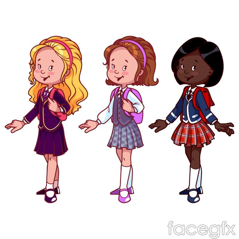 3 cartoon schoolgirl vector