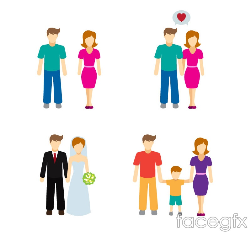 4 family character design vector graph