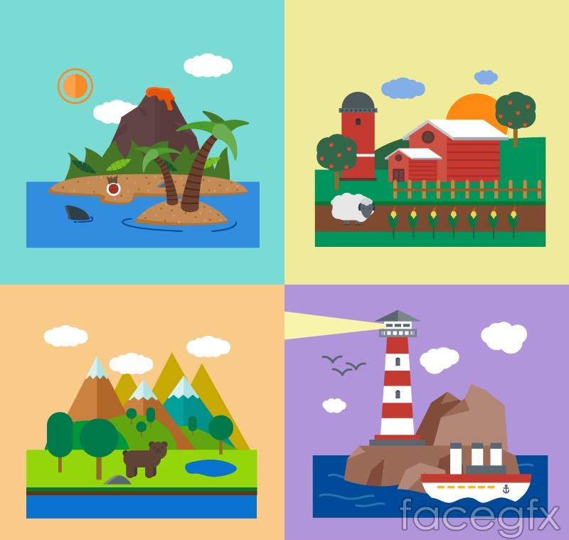 4 holiday landscape Illustrator vector