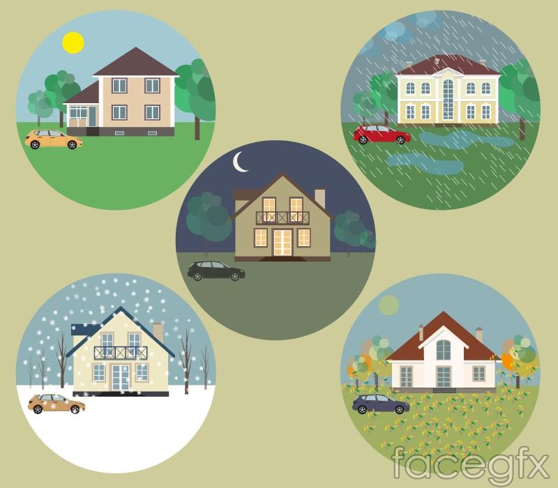 5 round house icon vector