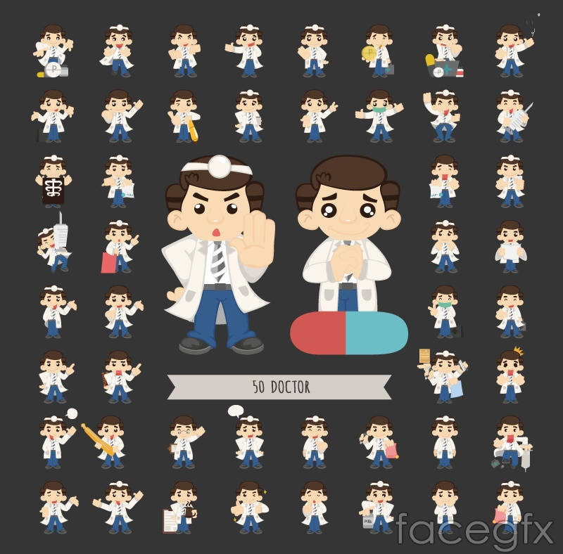 50 cartoon doctor design vector