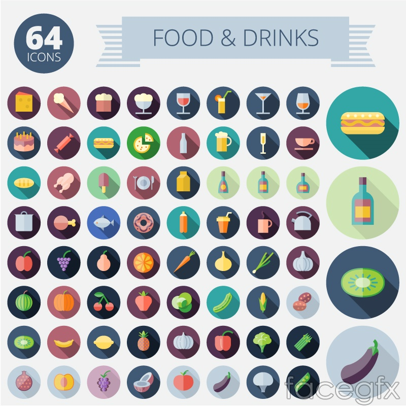 64 food and beverage icon vector