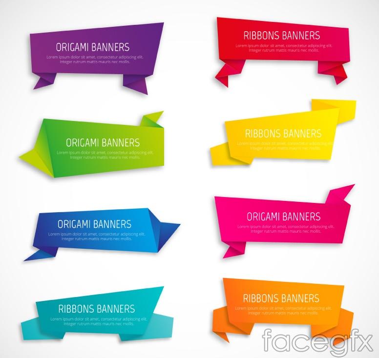 8 color origami banner vector diagrams