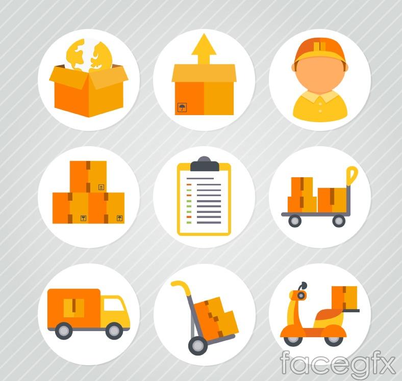 9 round logistics icons vector