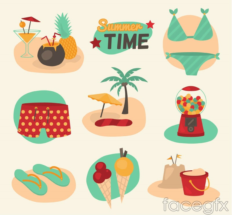 9 summer icon vector