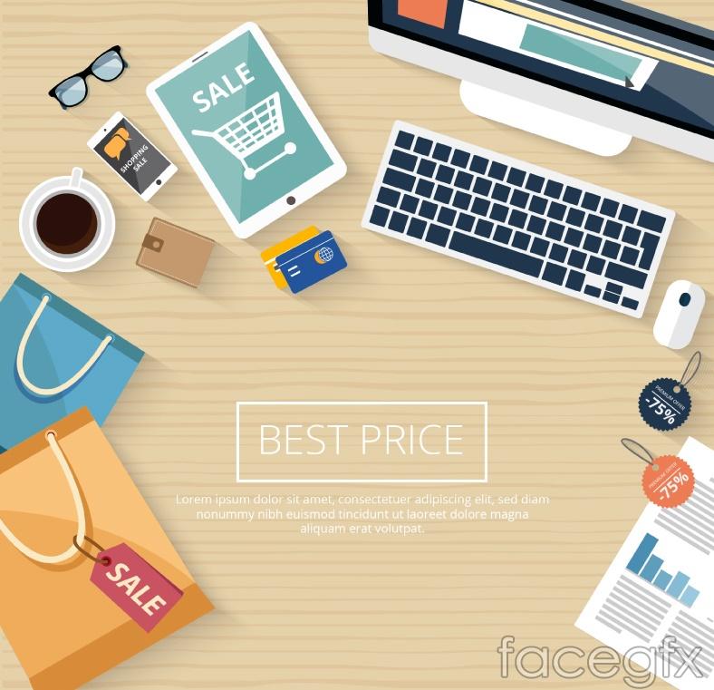 Creative desktop promotional poster vector