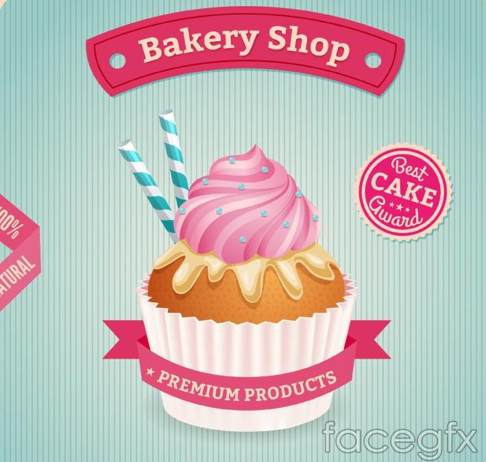Delicious cupcakes poster vector