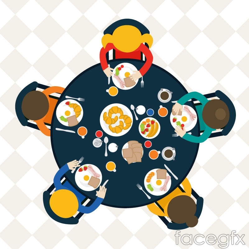 Dinner table top vector