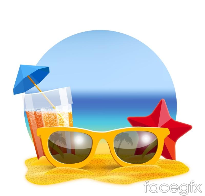 Summer beach sunglasses, vector illustration