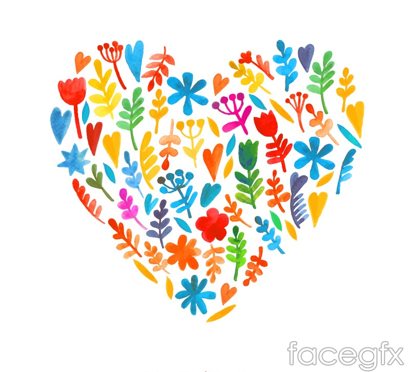 Watercolor leaf mix love vector graphics