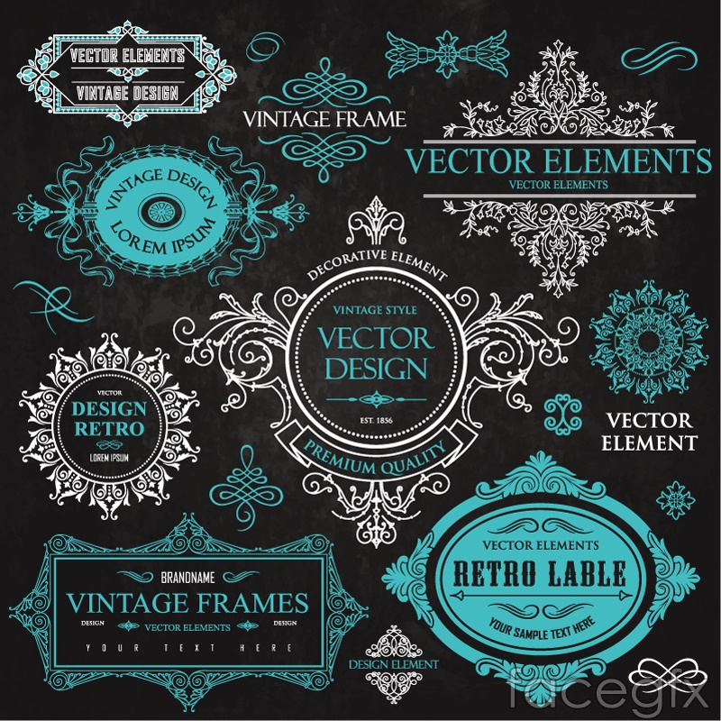 10 fine patterned borders tag vector