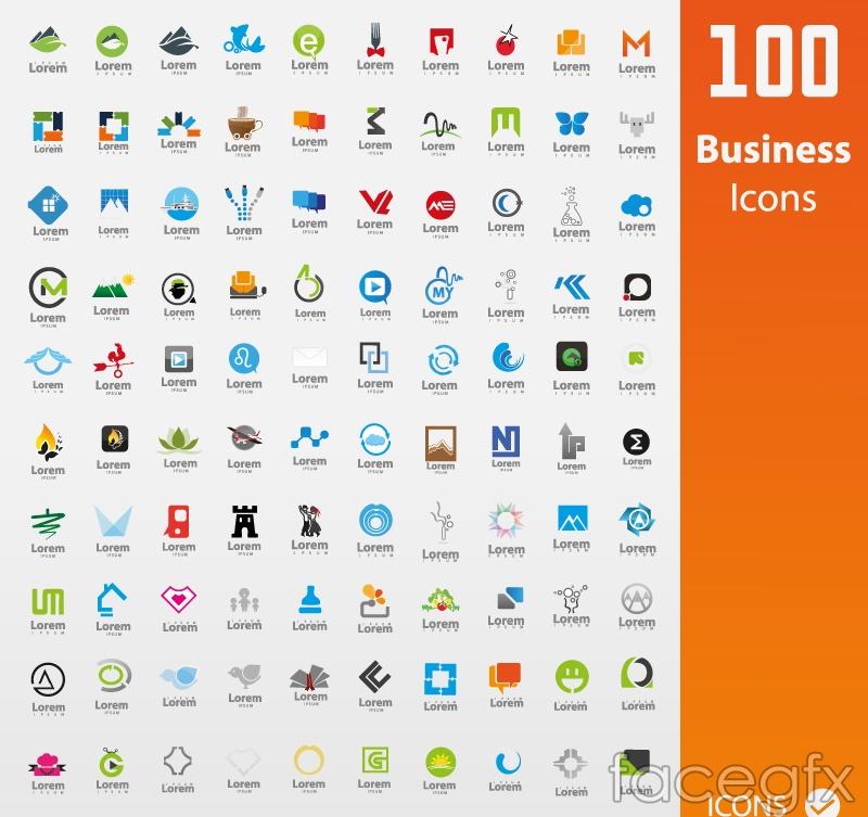 100 business logo vector