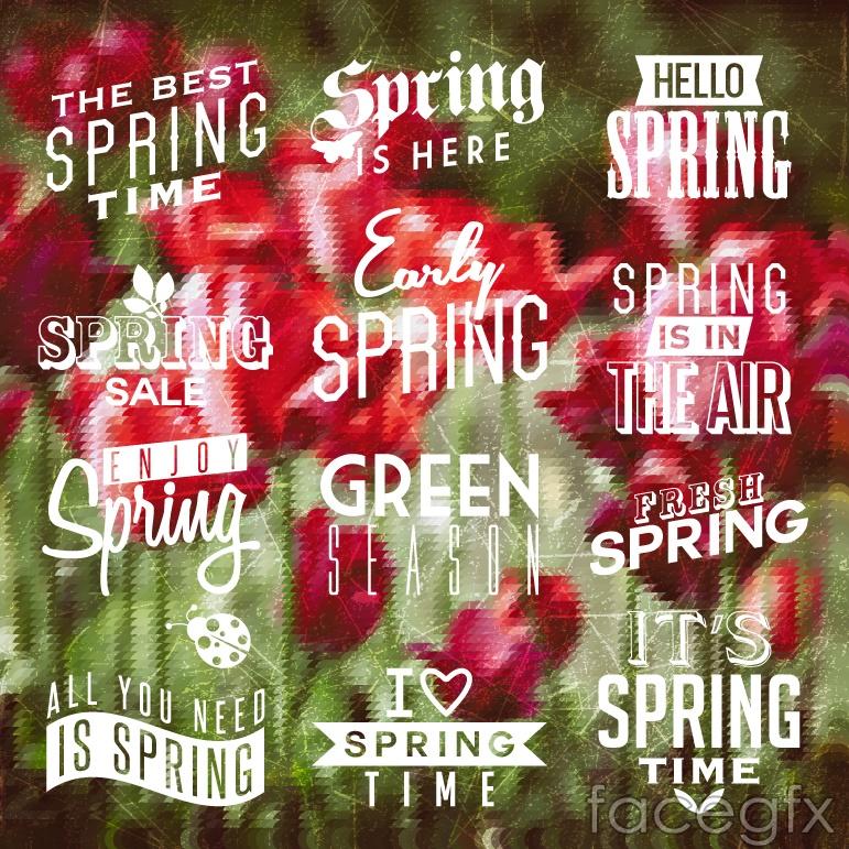 12 spring time WordArt white vector diagrams