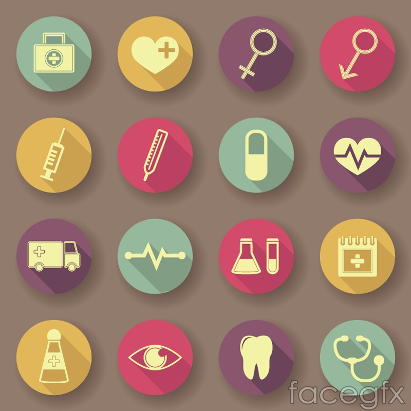 16 flat medical icons vector