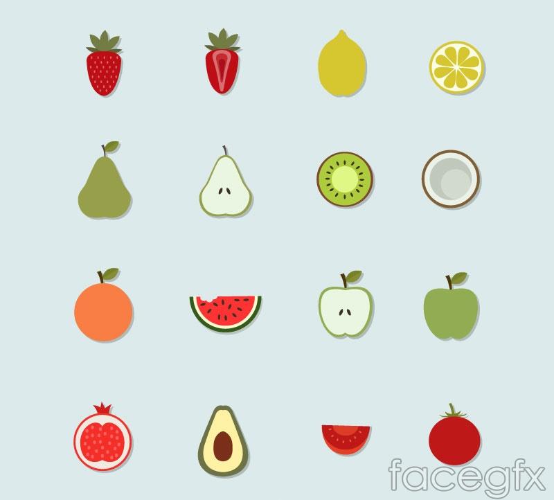 16 fruit sticker icon vector