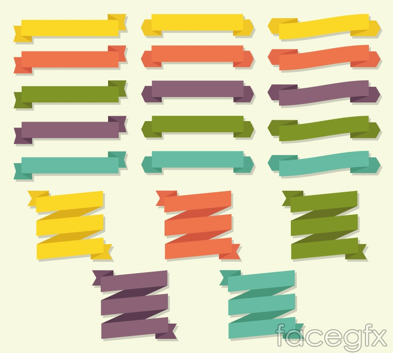 20 paper Ribbon banner vector