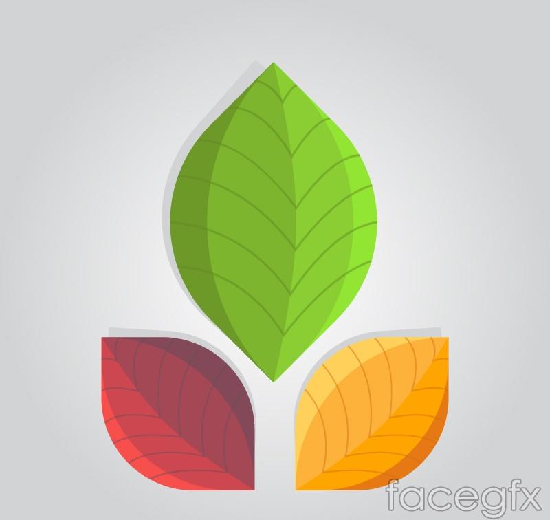 3 colour leaf design vector