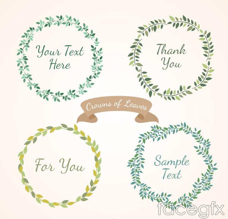 4 green tree wreath vector