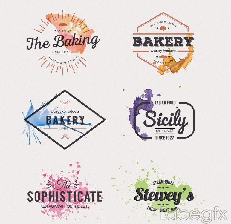 6 creative food and beverage labels vector