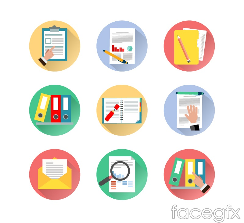 9 files with the document icon vector