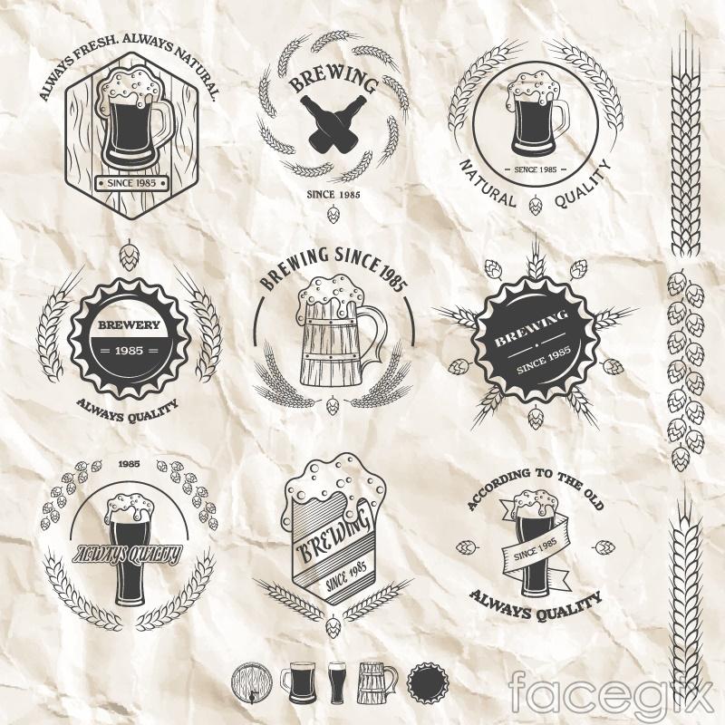 9 fold paper beer label vector