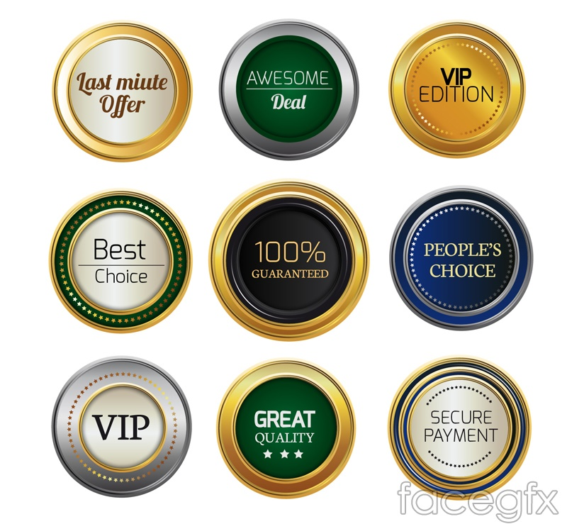 9 round high quality labels vector