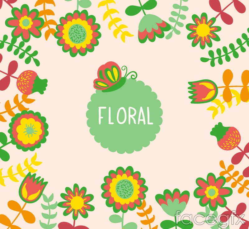 Cartoon border flowers vector