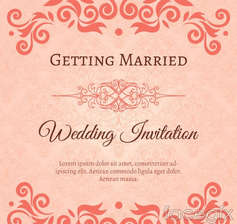 Elegant patterned vector wedding invitations