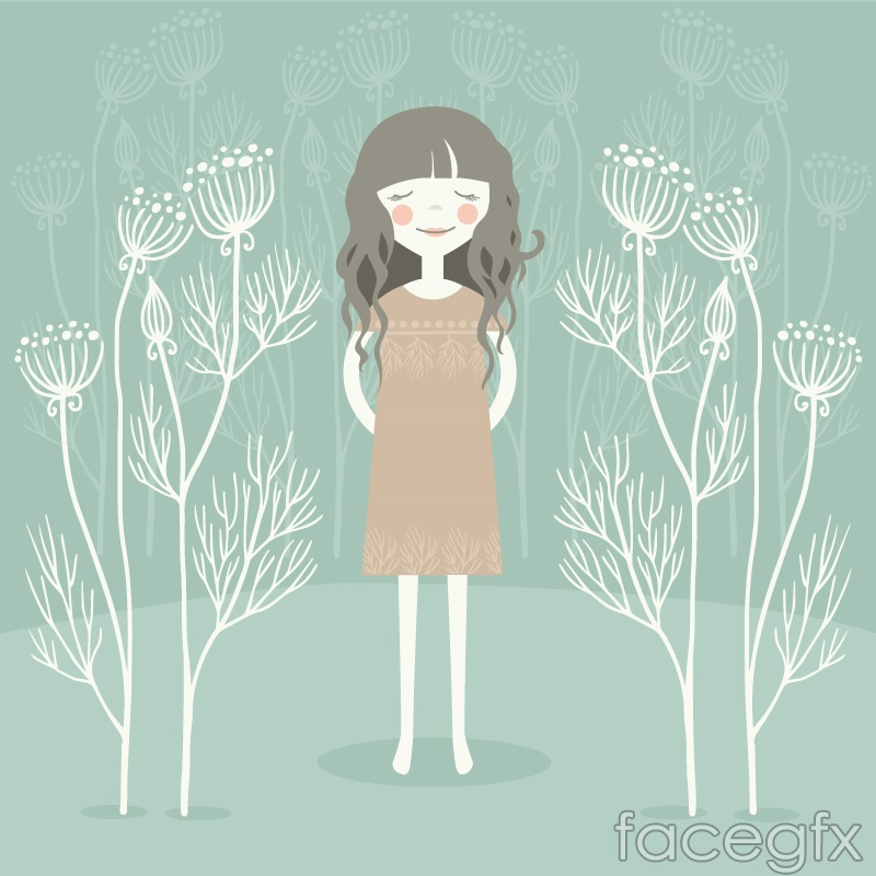 Fresh curly-haired girl vector illustration