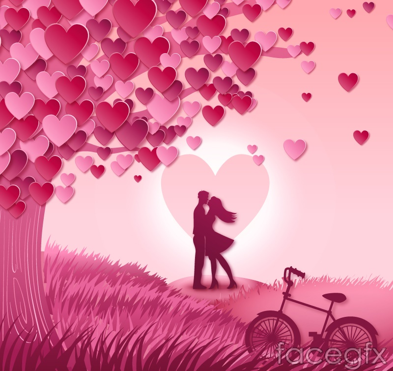 Love tree with a couple vector