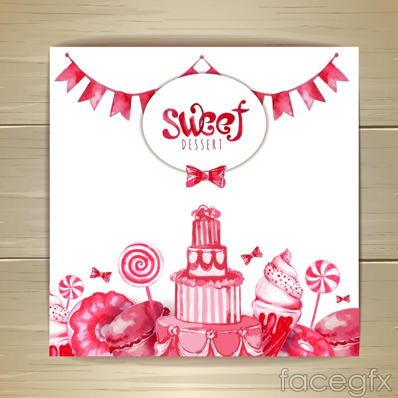 Pink watercolor dessert card vector