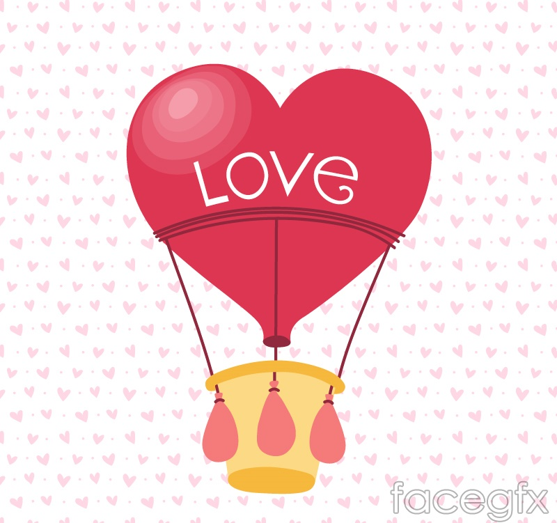 Red love balloon vector