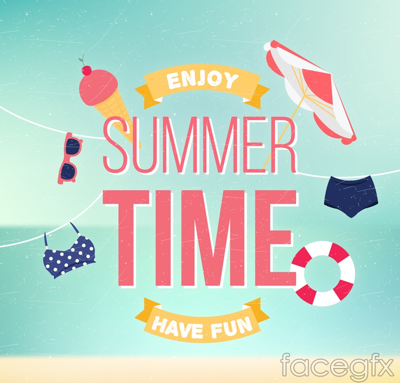 Summer time posters vector graphics