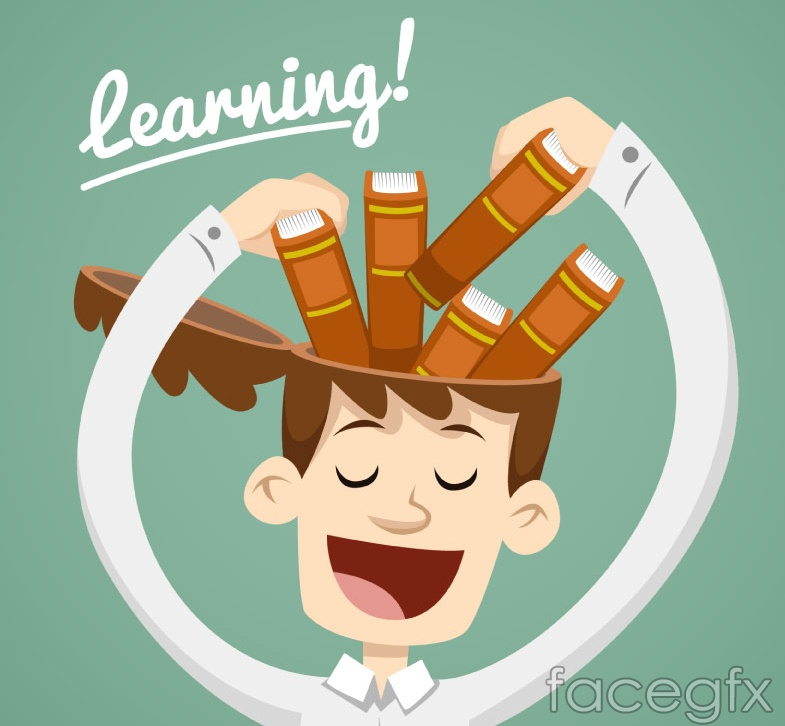 To fill the book-learning in the brain man vector graphics