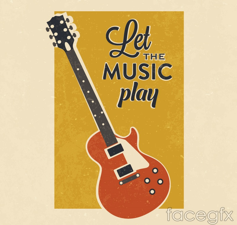 Vintage Guitar poster vector graphics
