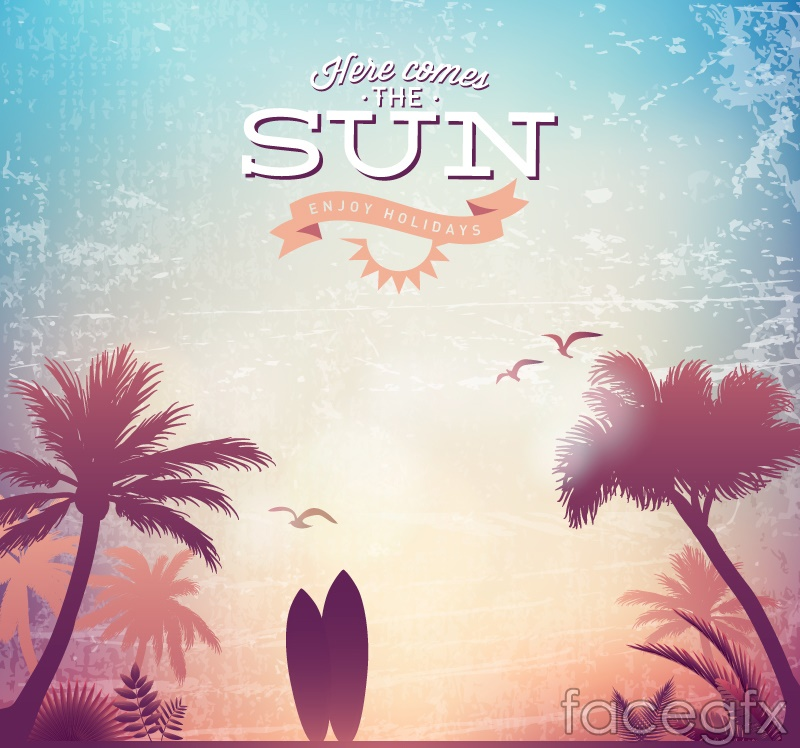Vintage surfboards and palm trees poster vector