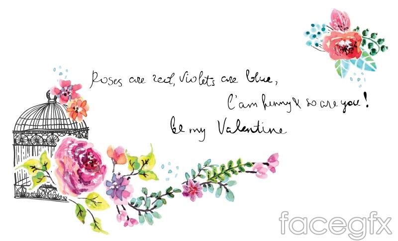 Watercolor flower invitation card vector