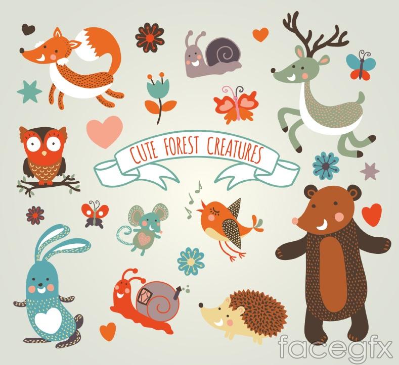 10 cute jungle animals vector