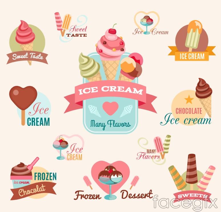 12 summer ice cream labels vector