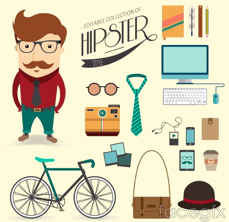 18 stylish men's personal belongings vector