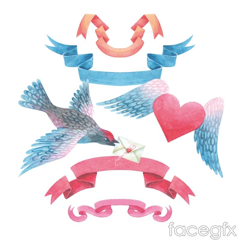 4 color watercolor Ribbon banner vector